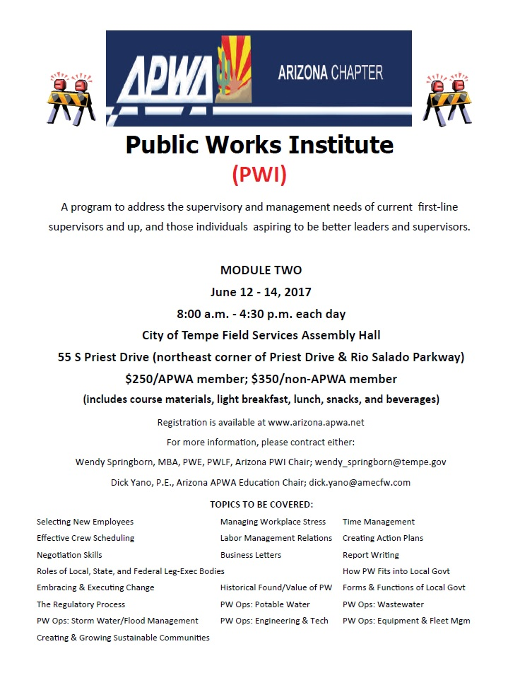 APWA, Public Works Institute @ City of Tempe Field Services Assembly Hall | Tempe | Arizona | United States