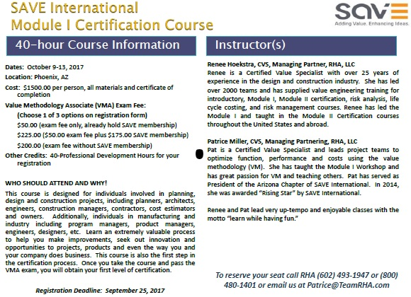 APWA - SAVE International Module | Certification Course @ RHA | Glendale | Arizona | United States