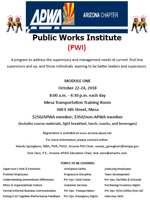 Public Works Institute - Module 1 @ Mesa Transportation Training Room  | Mesa | Arizona | United States