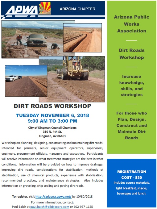 DIRT ROADS WORKSHOP @ City of Kingman Council Chambers | Kingman | Arizona | United States