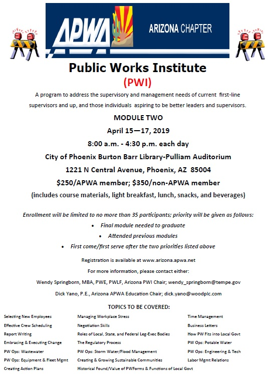 Public Works Institute: Module 2 @ City of Phoenix Burton Barr Library-Pulliam Auditorium